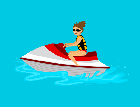 Femme, équitation, jet, ski, vecteur, Illustration