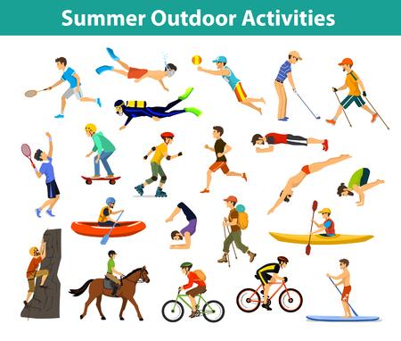 여름 야외, 해변, 스포츠 및 활동. 남자는 요가, 달리기, 사이클링, 산악 자전거와 배낭 여행, 카누 타기, 카약 타기, 등산, 래프팅, 하이킹, 테니스, 골프 일러스트