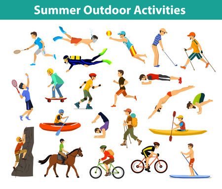 Summer outdoor, beach, sports and activities. Man do yoga, running, cycling, traveling with mountain bike and backpack, paddling, kayaking, climbing, rafting, hiking, playing tennis, golf and badminton, snorkeling, scuba diving swimming