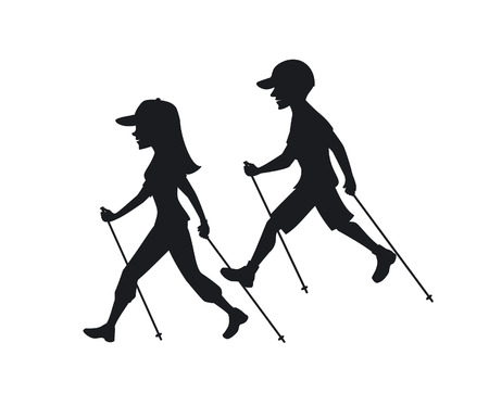 man and woman nordic walking, exercising silhouettes