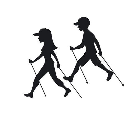 man en vrouw nordic-walking, het uitoefenen van silhouetten