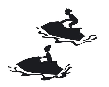 Homme et femme montant des silhouettes de jet ski Vecteurs