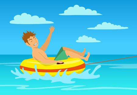 man riding tube at the beach. extreme summer vacation holidays sport fun activity