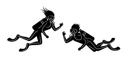 男と女のスキューバ ダイビング シルエット