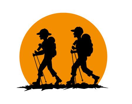 couple, man , woman, friends hiking  silhouette Illustration