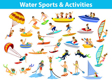 diving board: Summer water beach sports, activities. People, man, woman, couple, family windsurfing, surfing, jet skiing, stand up paddleboarding, snorkeling, scuba diving, tubing, riding speed boat and banana float, fly boarding, kayaking, parasailing, wakeboarding, k Illustration