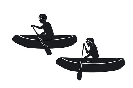 Man and woman rafting silhouettes Ilustração