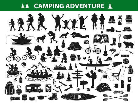 camping hiking silhouette collection set. people trekking, navigating, sitting at campfire tent, kayaking, rafting, fishing, mountain biking. Campsite gear, equipment, accessories: backpack, sleeping bag, guitar, cooking tools, map, caravan, boot, compass