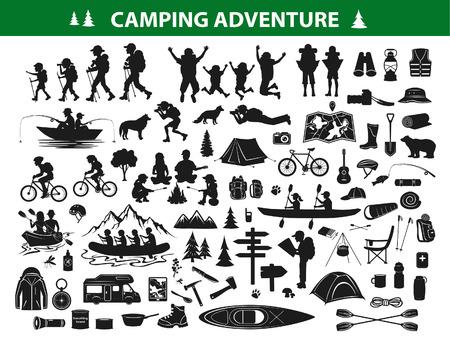 Ensemble de collecte de silhouette de randonnée pédestre. Personnes en train de faire du trekking, naviguer, se reposer sur une tente de feu de camp, faire du kayak, rafting, pêcher, faire du vélo de montagne. Équipement de camping, équipement, accessoires: sac à dos, sac de couchage, guitare, outils de cuisine, carte, caravane, botte, boussole Vecteurs