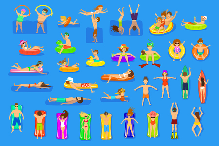 Water pool sea fun activities vector illustration set. People, family, couple, children, men and women relaxing, swimming floating on inflatable matrasses and rings. top and side view