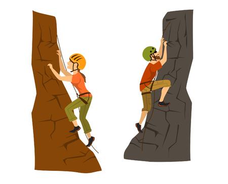 limestone: A female and male mountain climbers.