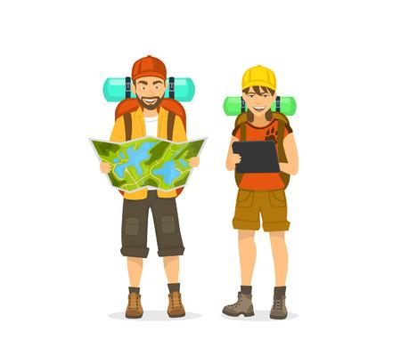Ein Mann und eine Frau, Paarreisende mit den Rucksäcken, die Karte und Tablette für Navigation betrachten. Standard-Bild - 80637734