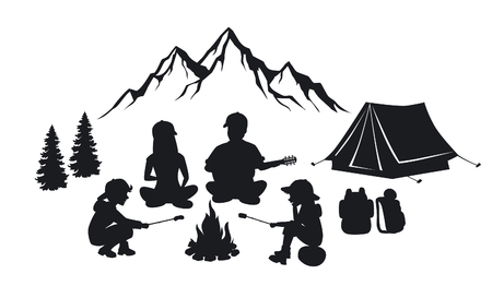 Family sit around campfire silhouette scene with mountains, tent and pine trees. People camping outdoor Illustration