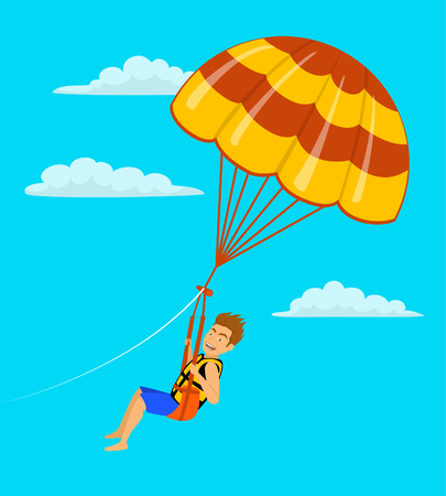 A man parasailing in the sky cartoon vector illustration.