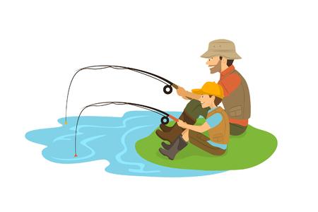 Un père et un fils qui pêchent sur un lac d'illustration vectorielle isolée.