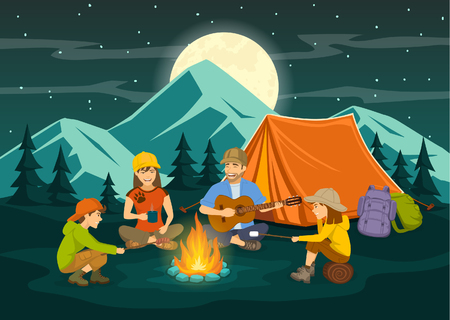 Family sitting around campfire and tent, cooking sausages and marshmallow, singing, having fun, camping, enjoying summer outdoor holidays. Mountain landscape, pine forest, moonlight night background