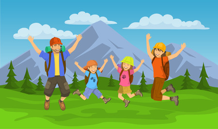Happy family, jumping for joy to go camping, travel, hiking or trekking outdoors scene. Mountain landscape background