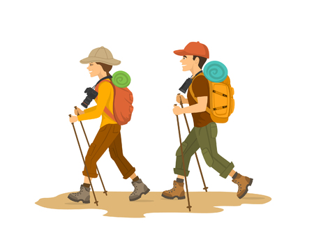A man and woman, couple hikers traveling trekking with backpacks isolated vector illustration.