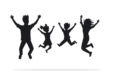 family holiday: Happy family, man, woman, boy, girl jumping for joy silhouettes