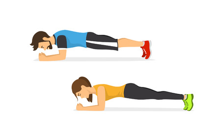 A man and woman exercising, standing in a plank position.