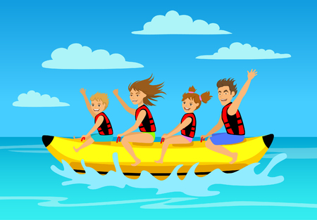 float fun: A family riding banana boat. summer vacation time vector illustration.