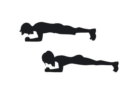 Een man en een vrouw die silhouetten uitoefenen, staan in een plankpositie. Stock Illustratie