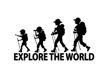 A Family Hiking Trekking Together Silhouettes Scene Vector