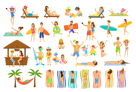 Collection of people having fun on summer vacations. Man, woman, family,couple,children relaxing, sunbathing, tan on the beach, making selfie, work on pc, drinking cocktails in seaside bar, lying on sun chair, towels, hammock and sand, run, stand with flo