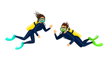 man and woman scuba diving isolated Ilustracja