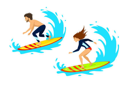Man and woman surfers surfing riding on waves isolated vector illustration Illustration
