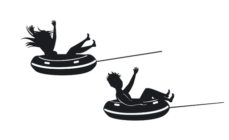 swimm: man and woman riding tube silhouettes,  extreme summer beach vacation holidays sport fun activity. isolated