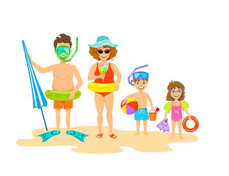 coastal: funny happy family on the beach isolated vector ilustration
