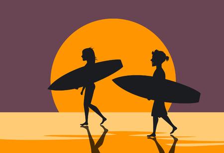 男と女、日没のシルエット ポスターでサーフボードとビーチで水の上を歩くサーファー夫婦  イラスト・ベクター素材