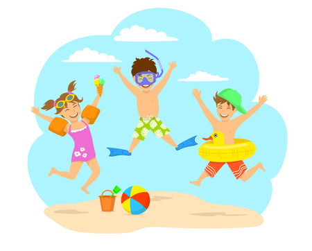 Happy children, kids jumping for joy on the beach