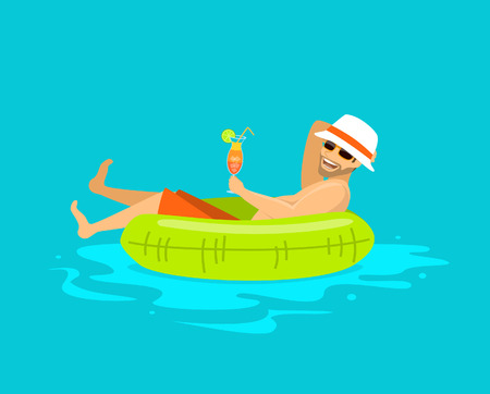 happy guy floating in inflatable ring in the swimming pool, drinking cocktail, enjoying summer time, vacation, holidays