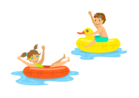 boy and girl, children floating on inflatable rings  isolated Illustration