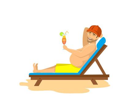 lounge chair: Happy man lying on sunchair, drinking cocktail, sunbathing. beach summer holidays, vacations vector illustration