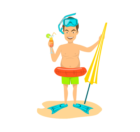 Happy funny guy with inflatable ring , flippers, snorjeling mask, umbrella and cocktail. summer time beach vacations. isolated vector illustration