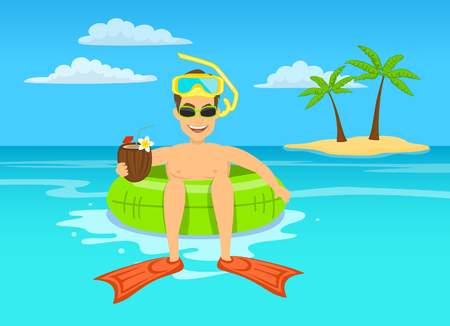 floating: Funny guy with coconut cocktail and snorkeling mask floating on inflatable inner ring in tropical ocean water, happy summer vacations vector illustration