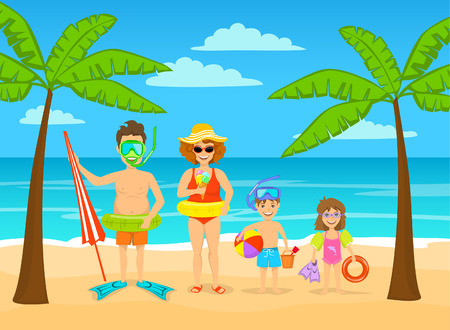 Funny family on summer beach tropical vacations