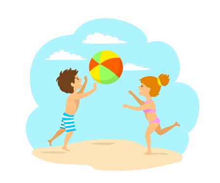 kids, boy and girl playing ball on the beach