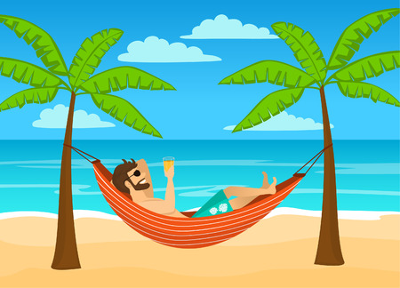 man enjoying summer time holidays, vacations, lying in hammock under palm trees drinking beer, relaxing