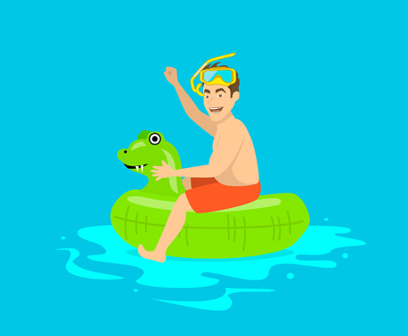Man having fun in pool, floating on childrens inflatable dragon ring, happy to be on vacations