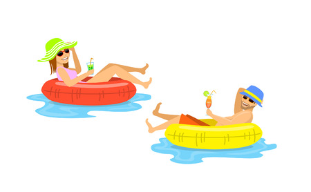 man and woman floating on inflatable inner rings, mattress, tubes isolated vector illustration Vetores