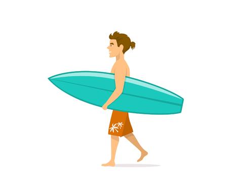 hombre surfista caminando con tabla de surf Ilustración de vector