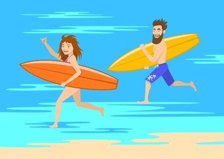 面白いカップル サーファー、男と女のサーフボードとビーチを走る  イラスト・ベクター素材