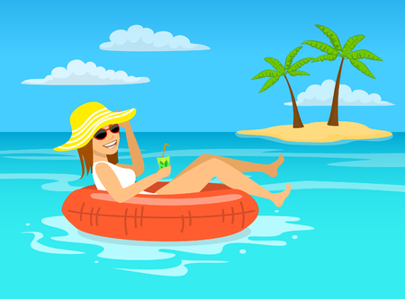 floating: funny woman with cocktail relaxing floating on inflatable inner ring in tropical ocean water, happy summer vacations vector illustration