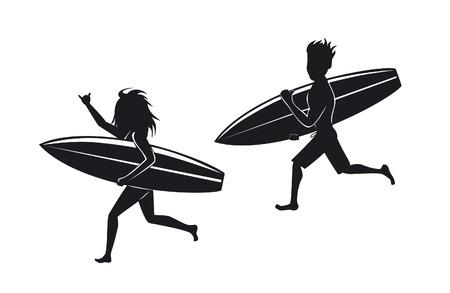 hombre y mujer surfistas corriendo con las siluetas de tabla de surf