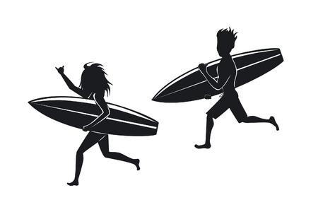 walk board: man and woman surfers running with surfboard  silhouettes Illustration