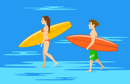 man and woman, surfers couple walking on water on the beach with surfboards